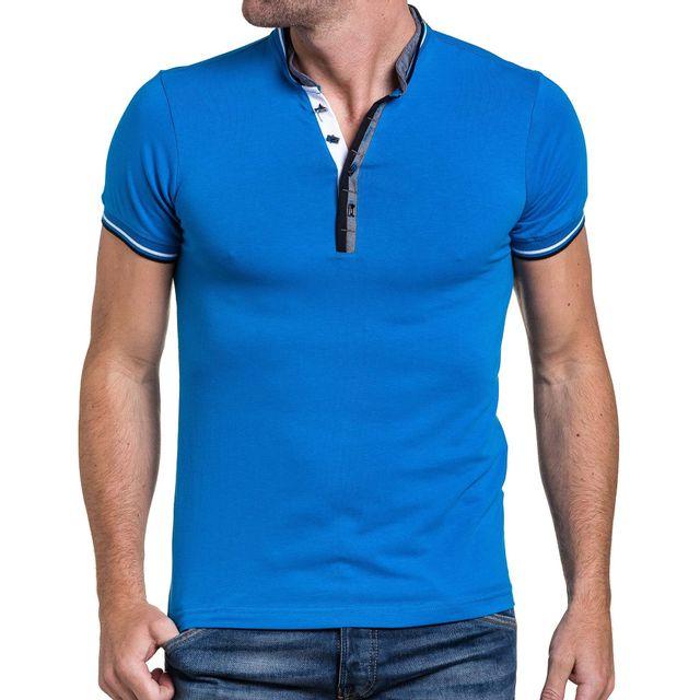 d2d5b63ad02 BLZ Jeans - Tshirt homme bleu royal col mao à boutons XL - pas cher ...