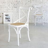 Bois Dessus Bois Dessous - Lot de 2 chaises bistrot en bois d'acajou et rotin Londres