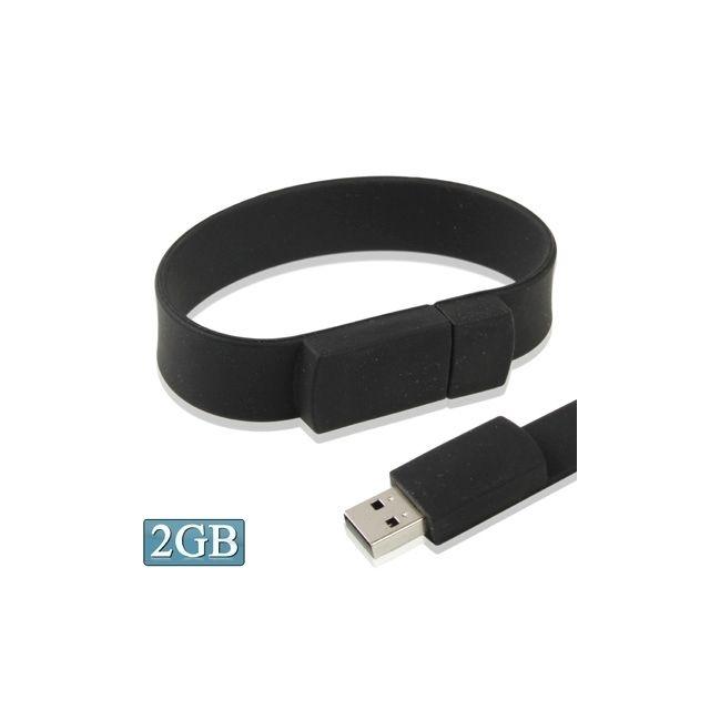 Bracelet Noir 64Go USB 2.0 Clé USB Clef Mémoire Flash Data Stockage