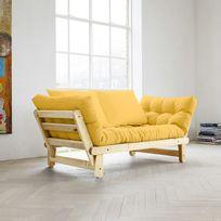 Karup - Canapé convertible en bois avec matelas futon Beat - Jaune - Naturel