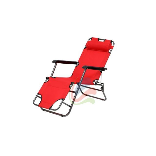 Malatec - Transat chaise longue jardin plage 3 positions Rouge