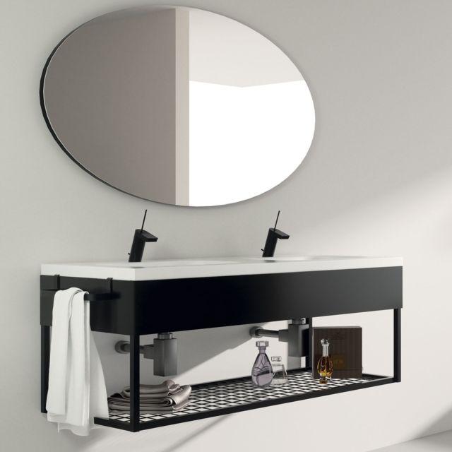 Meuble salle de bain suspendu 120 cm + double vasque céramique, Metal