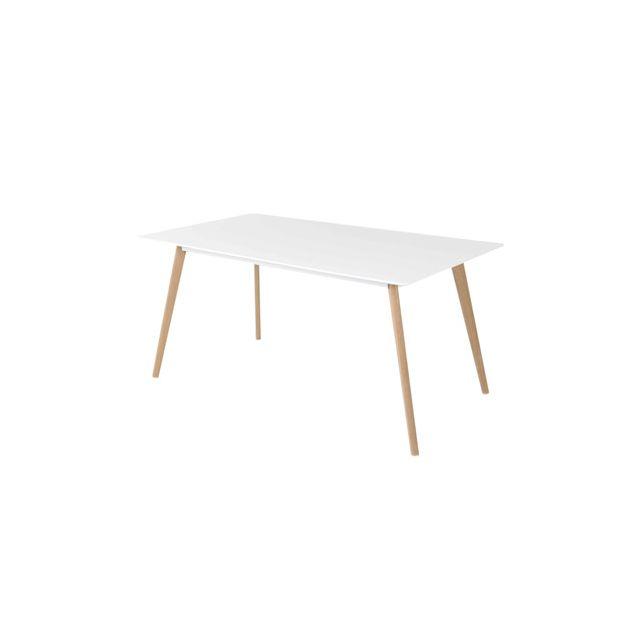 Table repas rectangulaire 160 cm coloris blanc - Baltiko