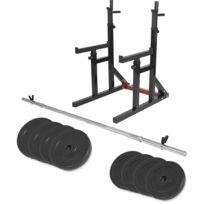 Gorilla Sports - Multi Rack à squat et developpé couché règlable + barre longue 170cm + 30kg des poids en plastique