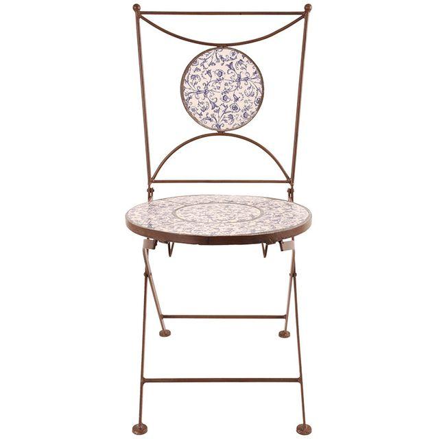 ESSCHERT DESIGN Chaise jardin fer forgé céramique