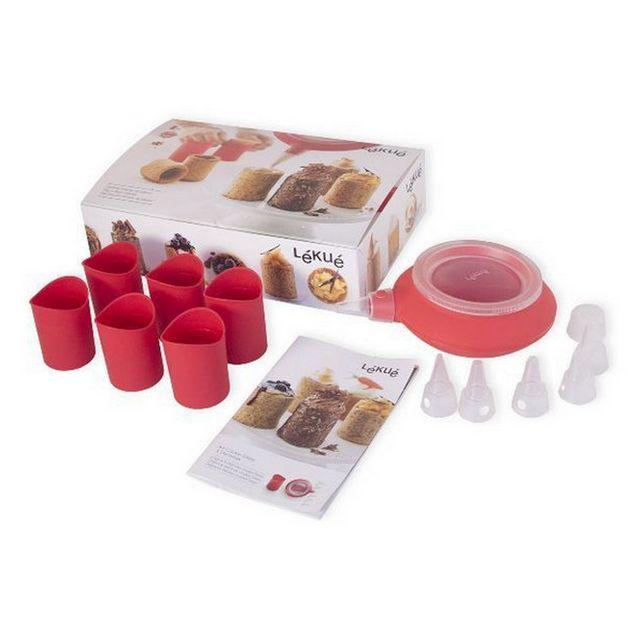 LEKUE coffret de 6 verrines à cookies silicone + décomax rouge - 3000072surm017