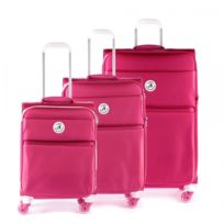 Alpini - Set de 3 valises 4 roues Arizona rose et blanc