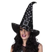 Chapeau sorcière étoiles argentées femme Halloween - taille - Taille Unique  - 235526 4a3eff9436c