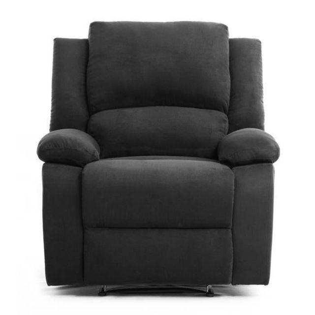 FAUTEUIL RELAX Fauteuil relaxation Tissu noir Style contemporain L 86 x P 90 cm
