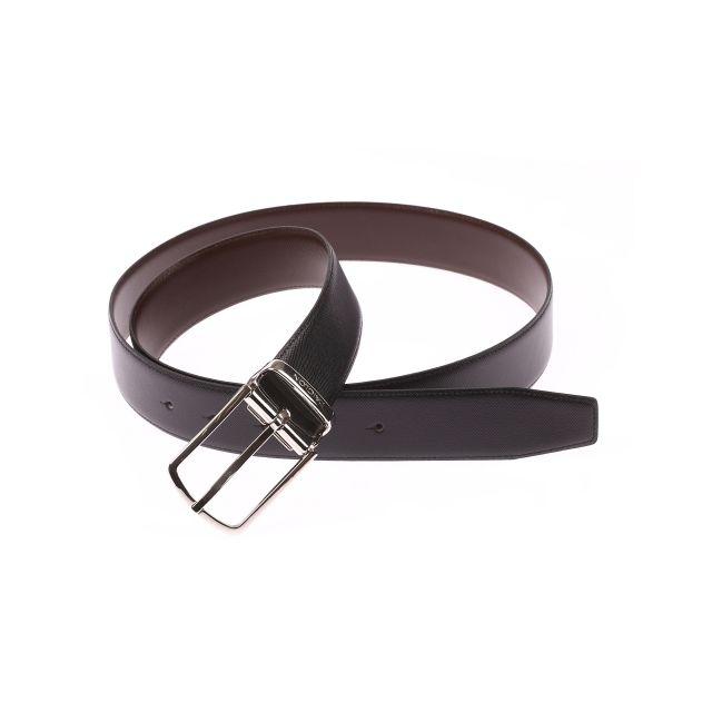 dcb6a407844 L aiglon - Ceinture ajustable en cuir texturé noir réversible marron ...