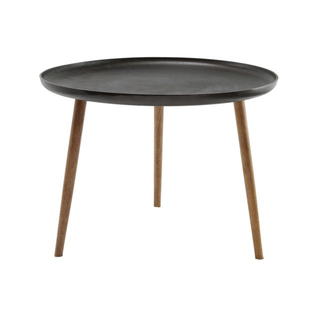 Miliboo Table basse design métal et pieds bois Lumi