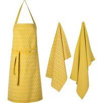 Deko & Co - Tablier 70x80 cm + 2 Torchons 45x70 cm Scandi 100% coton moutarde