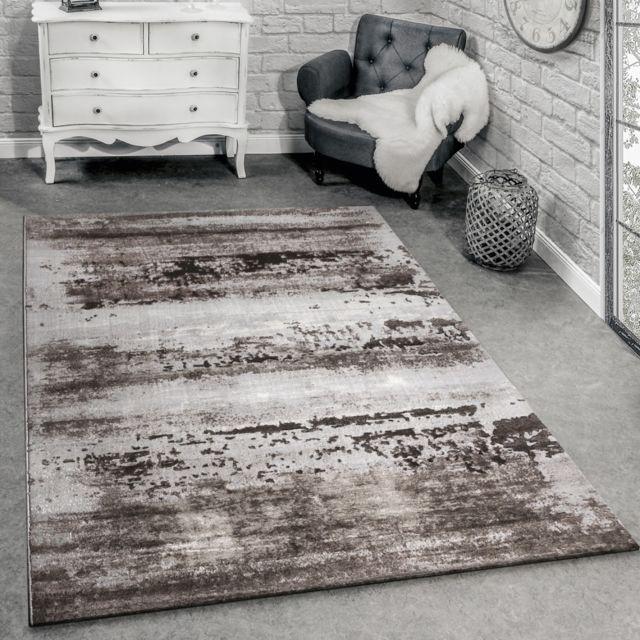 paco home tapis de cr ateur moderne salon tapis 3d shabby chic design en brun gris 80x150. Black Bedroom Furniture Sets. Home Design Ideas