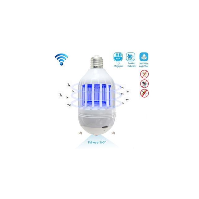 Auto-hightech Camera wifi 1.3MP objectif fisheye 360 Degré E27 Lampe 960P avec Fonction tue-moustique, détection de mouvement et carte