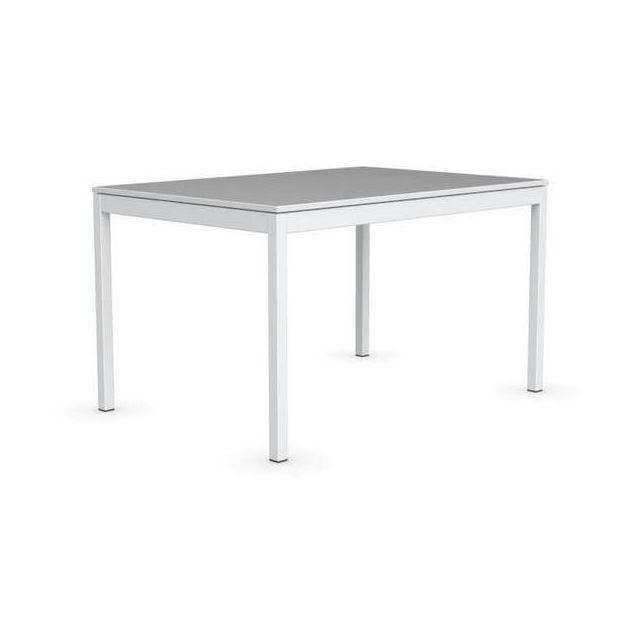 Inside 75 Table extensible Snap multistripe soie piétement laqué blanc 130x90 cm