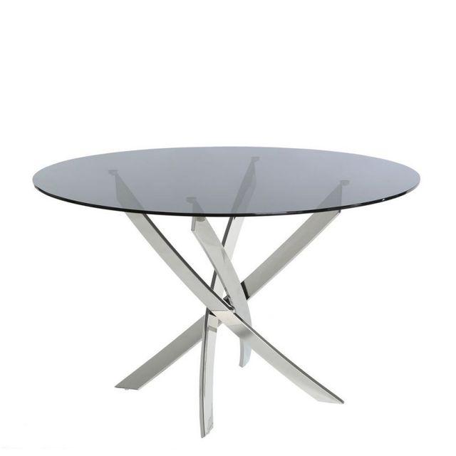 Ma Maison Mes Tendances Table à manger ronde en verre fumé et pieds en métal argenté Cyria - L 120 x l 120 x H 75