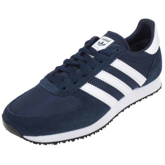 Adidas originals - Chaussures basses cuir ou synthétique Zx racer navy/blc pt Bleu 45790 37 1/2 - pas cher Achat / Vente Baskets femme - RueDuCommerce