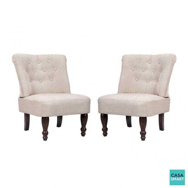 Casasmart Lot de 2 fauteuils de salon beige clair