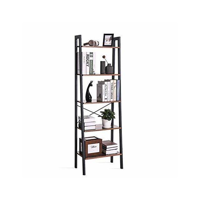 Lls45x étagère à Livres Avec 5 étagères Avec Cadre En Métal Montage Facile Pour Le Salon La Chambre à Coucher La Cuisine 56 X 172 X 34 Cm