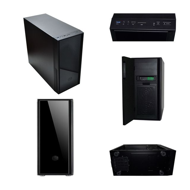 "Pack complet Pc de bureau Intel i7-7700 4x 3.60Ghz max 4.2Ghz Intel Hd Graphics 630, 16Go Ram Ddr4 2133Mhz, 250Go Ssd, 1To Hdd, Usb 3.0, Wifi, CardReader. Unité centrale avec moniteur Tft-led 23.6"", clavier & souris small"