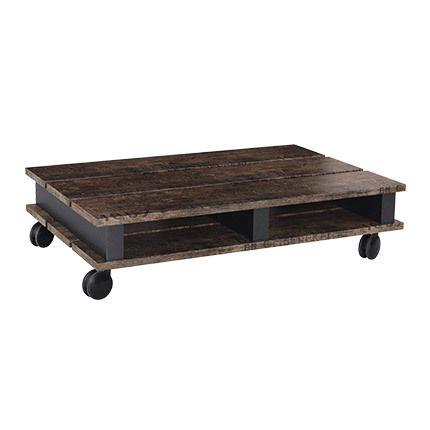 Table basse 100x24x67cm sur roulettes - noir et marron