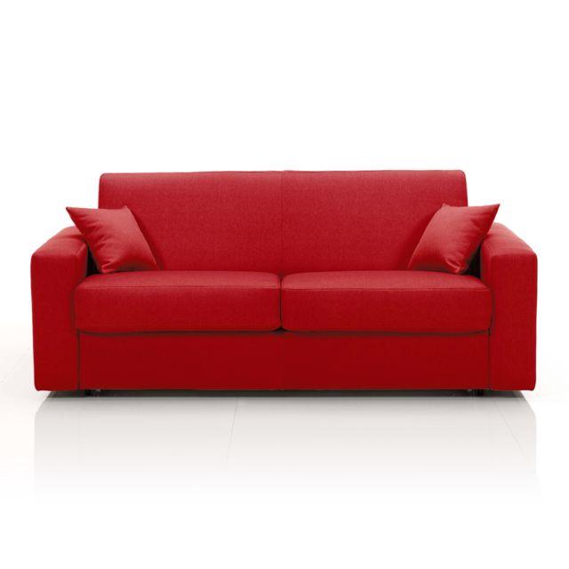 AUTRES Canapé 3 places fixe, tissu déhoussable - rouge