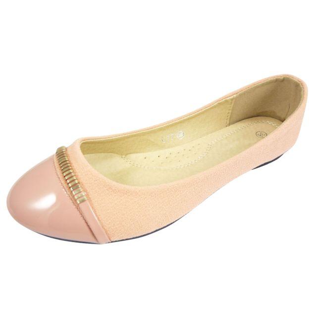 4d060e046e6 Chaussmaro - Ballerines chaussures femme bi-matiare en tissu ...