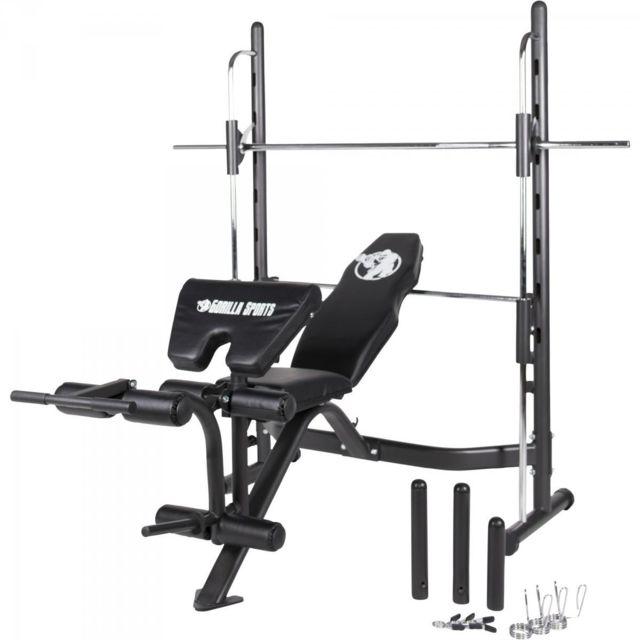 Gorilla Sports Banc De Musculation Multifonctions Avec Barre