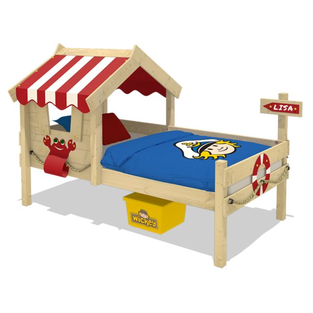 WICKEY Lit pour enfant en bois Crazy Sharky Lit simple
