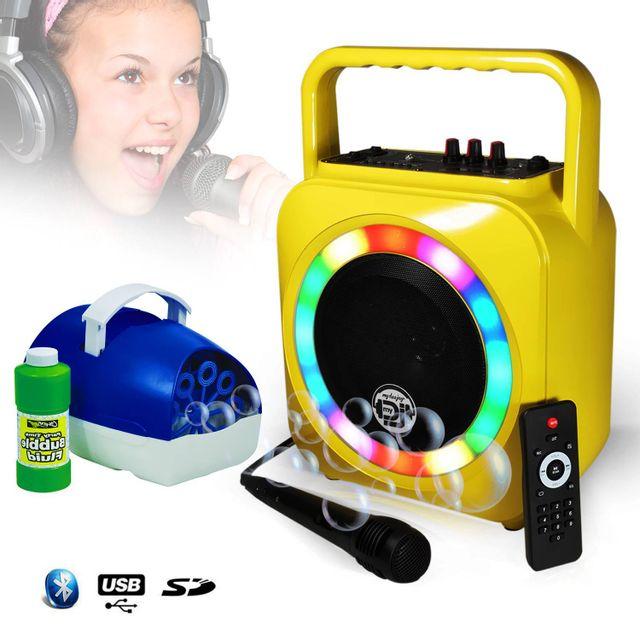 Mydj Enceinte karaoke mobile jaune 200W à Leds multicolors Usb/SD/BT + Mic + Machine à bulle