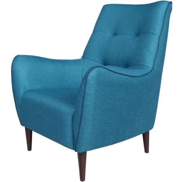 FAUTEUIL JARL Fauteuil - Tissu Bleu Paon - Passepoil et coussin Bleu Pétrole - L 84 x P 77 x H 94 cm