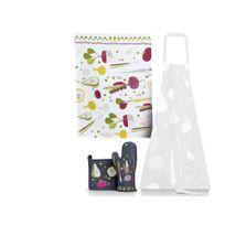 Winkler - Lot torchon + gant de cuisine + manique 100% coton fruits légumes multicolores Augustin