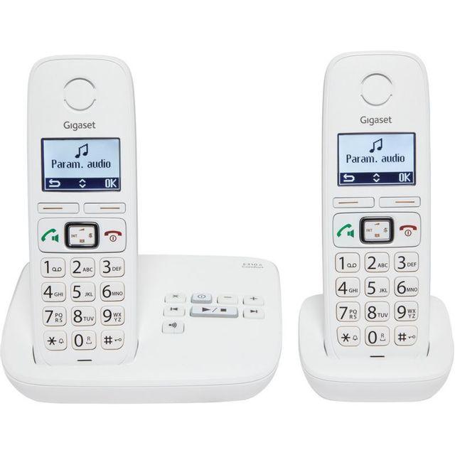 gigaset t l phone fixe sans fil avec r pondeur e310a duo blanc pas cher achat vente. Black Bedroom Furniture Sets. Home Design Ideas