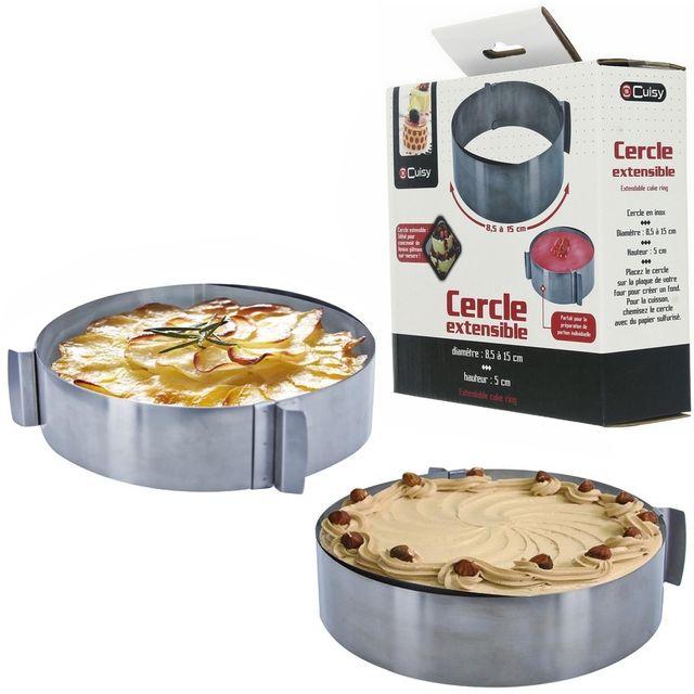 Promobo Cercle Extensible Patisserie Gateau En Inox 8,5cm à 15 cm