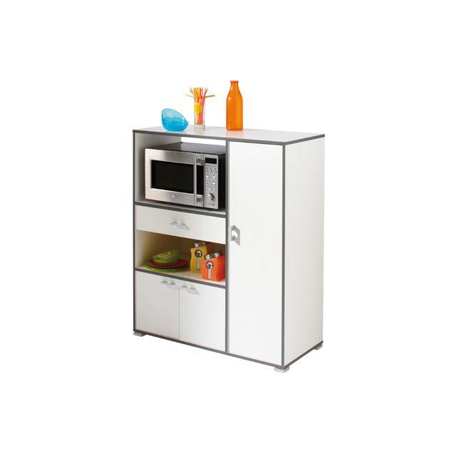 Desserte micro-ondes 3 portes 1 tiroir coloris blanc velours et basalte