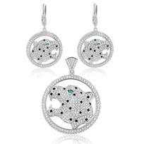 Blue Pearls - Parure : Pendentif et Boucles d'oreilles Panthère en Argent et Cristal Swarovski Cubic Zirconia - Cry J213-J304 X