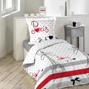 douceur d 39 interieur housse de couette paris chic 140x200cm 100 coton rouge gris blanc. Black Bedroom Furniture Sets. Home Design Ideas