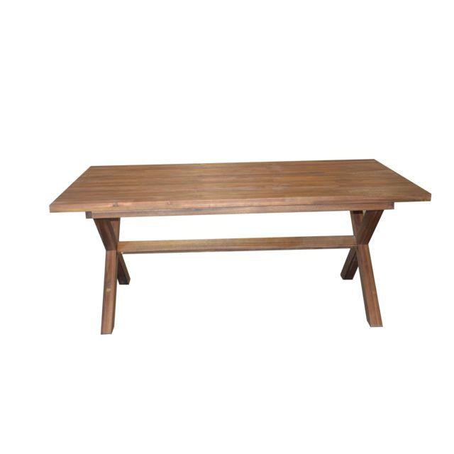 CARREFOUR - Table rectangulaire de jardin Bois naturel - 183cm x ...