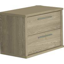 Comforium - Table de chevet à 2 tiroirs coloris chêne d'hiver