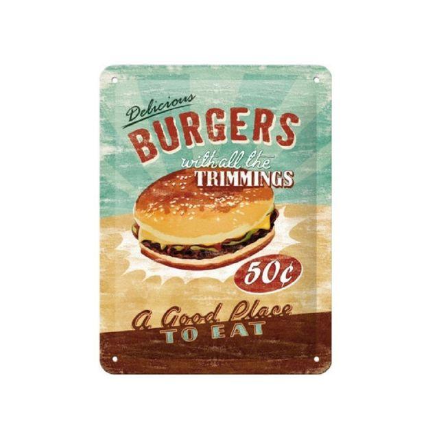 Universel Plaque hamburger 50 cents tole bombée deco cuisine diner