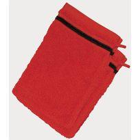 Le Linge De Jules - Lot de 2 gants de toilette 100% Coton - 550 grS/m2 Rouge Avec Liserets Noir