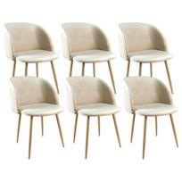 zons ypos lot 6 chaises salle a manger en velours 555x60xh83cm beige