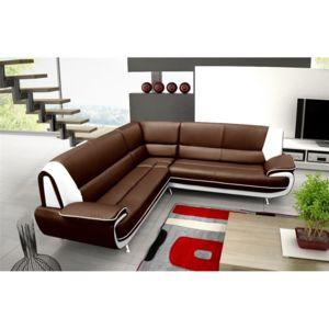 chloe design canap d 39 angle jenna xxl reversible chocolat et blanc r versible 250cm x. Black Bedroom Furniture Sets. Home Design Ideas