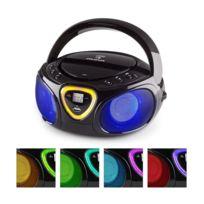 AUNA - Roadie Boombox CD USB MP3 Radio AM/FM Bluetooth 2.1 Jeu de couleurs LED - noir