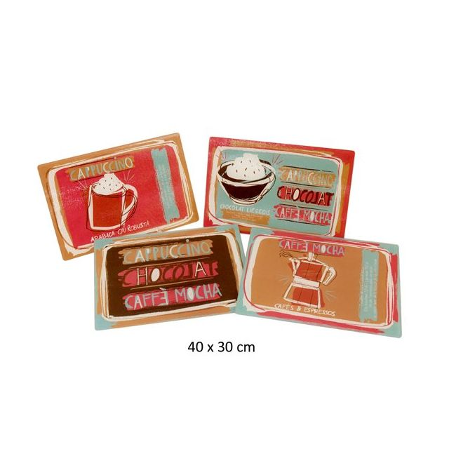 Kb8 Sets de tables X4 en verre 30x40cm Coffee