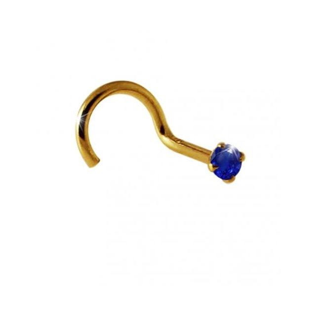 Sans Marque Bijou Pierre Précieuse Piercing Vis pour le Nez En OrJaune Massif 14 carats Avec Pierre Véritable Saphir Bleu Rond de 2m
