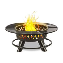 BLUMFELDT - Rosario Brasero 3 en 1 Ø120cm barbecue 70 cm | plateau de table acier