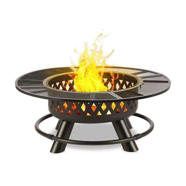 BLUMFELDT - Rosario Brasero 3 en 1 Ø120cm barbecue 70 cm   plateau de table acier