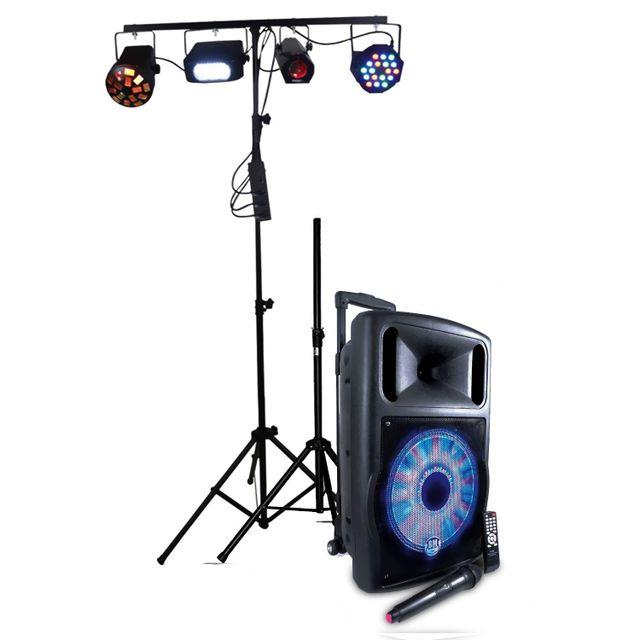Ibiza Pack jeux de lumière & Fuzzy12LED-BT Enceinte Mobile 700W 12