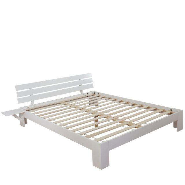 Mendler lit perth grand lit bois massif sommier lattes inclus rack en pin 140x200cm for Sommier grand lit